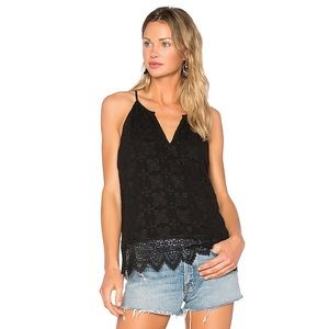 Joie Ember Cami Cavier Black Tank Top Silk Lace XS